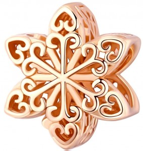 Charms Srebro - Snowflake Rose Gold